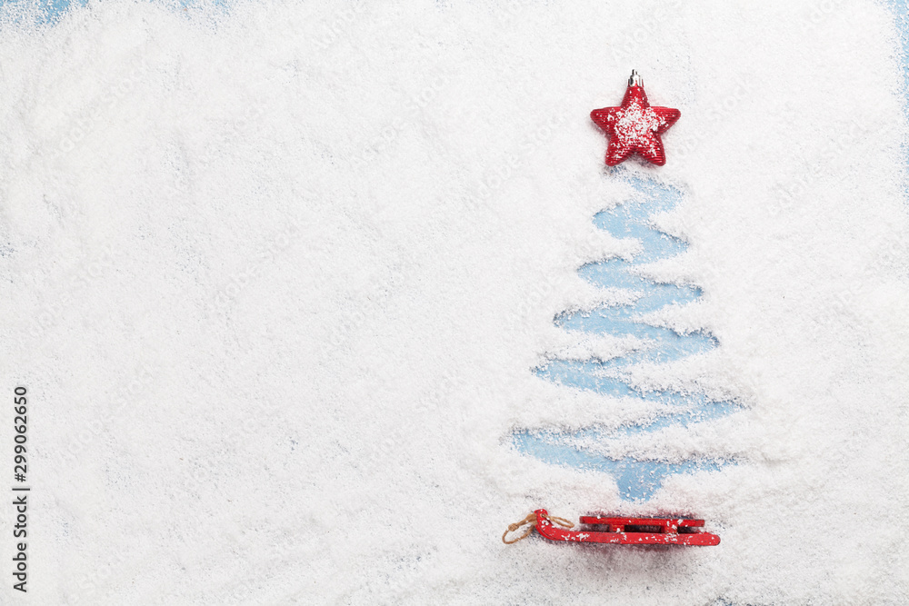 Fototapety, obrazy: Christmas greeting card with fir tree shape