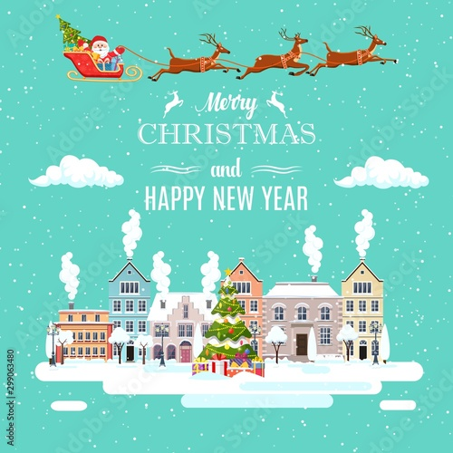 Photo sur Toile Vert corail happy new year and merry Christmas winter old town street Santa Claus with deers in sky above the city. concept for greeting and postal card, invitation, template. Vector illustration in flat style