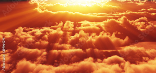 Foto auf Leinwand Rot kubanischen above clouds sunset god ray