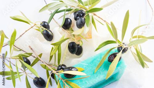 Ramas de olivo y Aceitunas para hacer jabón natural  casero Wallpaper Mural