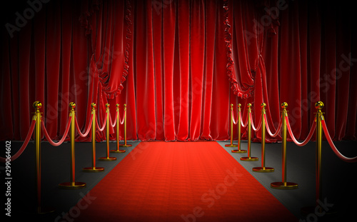 Pinturas sobre lienzo  red carpet and gold barriers with red rope