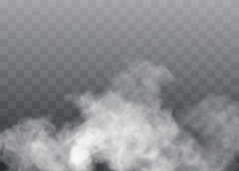 Transparent special effect stands out with fog or smoke. White cloud vector, fog or smog.