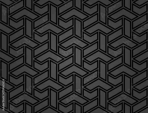 Seamless dark background for your designs. Modern vector black ornament. Geometric abstract pattern