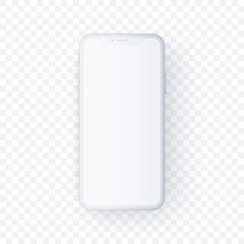 White Smartphone Mock Up In 3d Style Floating On Transparent Background. Mobile Cell Phone Vector Illustration Of Device With Blank Screen. Front View Of White Concept Device For App And Presentation.