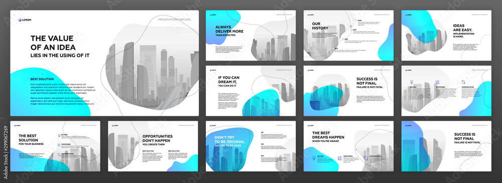 Fototapety, obrazy: Business presentation templates set. Use for modern presentation background, brochure design, website slider, landing page, annual report, company profile.