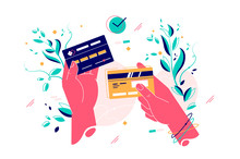 Credit Cards In Female Hands