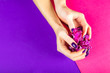 canvas print picture - Stylish trendy purple female manicure