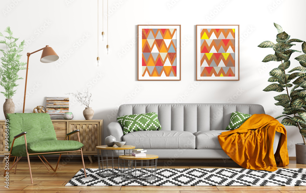 Fototapeta Modern interior design of living room with grey sofa, floor lamp and green armchair 3d rendering