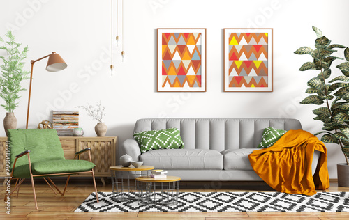 fototapeta na szkło Modern interior design of living room with grey sofa, floor lamp and green armchair 3d rendering
