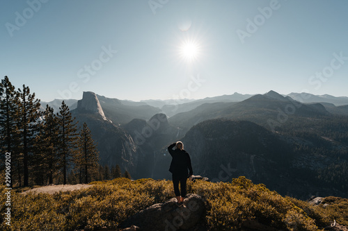 Yosemite Valley View with Halfdome and Waterfalls in the Background Canvas Print