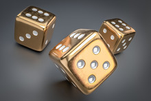 Set Of Golden Dice With White ...