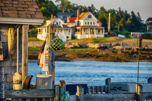 Maine coastline dock Canvas Print