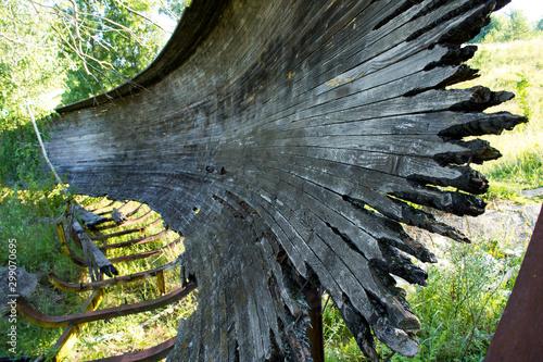 Foto auf AluDibond Brennholz-textur Coals. Fired planks.