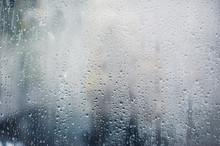 Rainy Background, Rain Drops On The Window, Autumn Season Backdrop, Abstract Textured Wallpaper