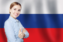 Russia Concept With Happy Cute Woman Student With Thumb Up On Th