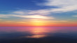 canvas print picture - Beautify sunset over sea, sun ray