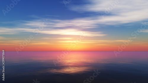 Fototapety, obrazy: Beautify sunset over sea, sun ray