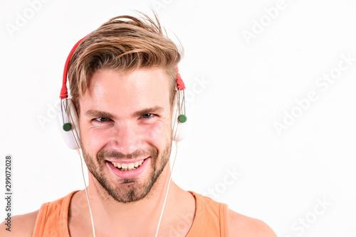 Tuinposter Muziekwinkel Enjoy perfect music sound headphones. Sale discount. Music fan concept. Man guy listening music headphones white background. Modern technology. Buy music gadget. Shop store musical accessory gadgets