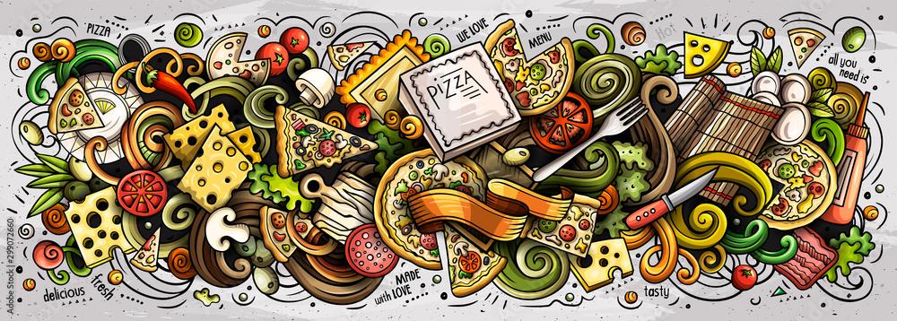 Pizzy ręka rysująca kreskówka doodles ilustrację. Transparent wektor kolorowy