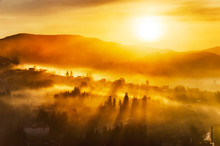 Bright Misty Sunrise In A Moun...