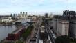 Puerto Madero, Promenade (Buenos Aires, Argentina) aerial view, drone footage