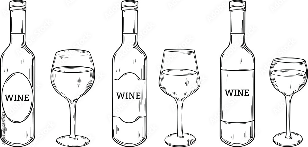 Fototapety, obrazy: different types of wine glasses and wine bottles with label, hand drawn style vector illustration