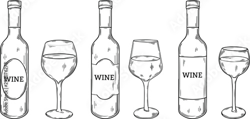 different types of wine glasses and wine bottles with label, hand drawn style vector illustration