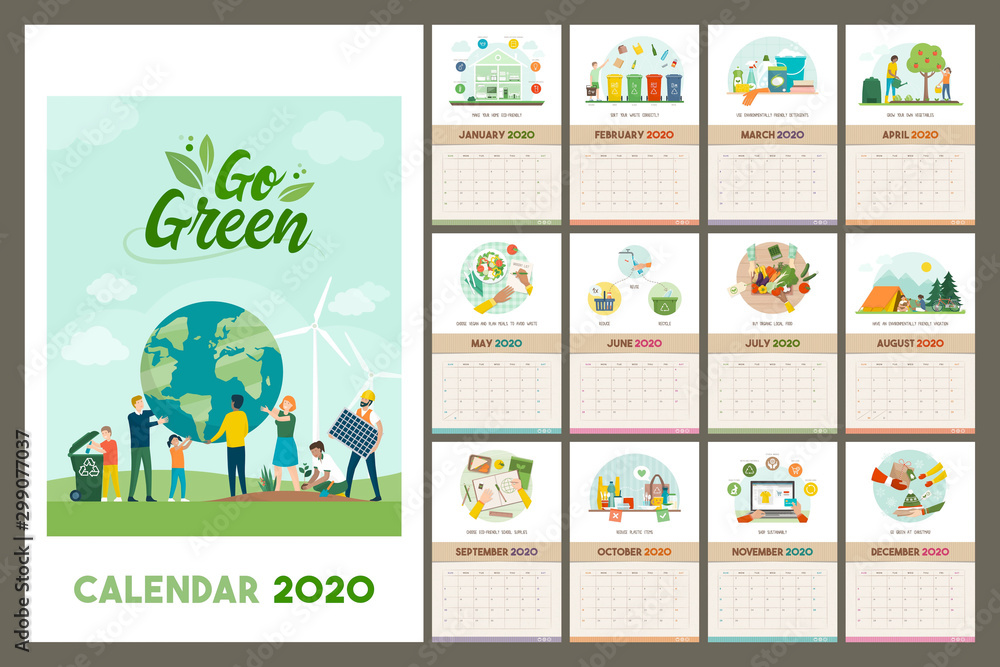 Fototapety, obrazy: Go green wall calendar 2020 with eco friendly tips and advices for a sustainable zero waste living, grid planner with recycled paper texture