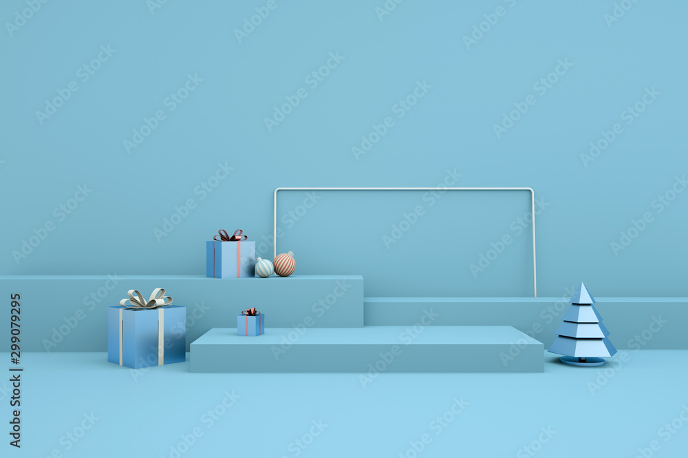Fototapety, obrazy: Merry Christmas and Happy New Year 3d rendering with xmas balls, christmas tree, gift box, platform for product presentation, mock up. Winter decoration, xmas minimal design