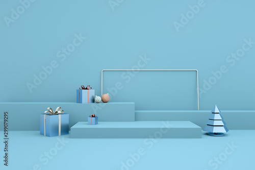 Merry Christmas and Happy New Year 3d rendering with xmas balls, christmas tree, gift box, platform for product presentation, mock up. Winter decoration, xmas minimal design - 299079295