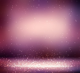 Glitter in maroon room. Sparkles falls on floor. Festive background 3d graphic. New year holiday interior.