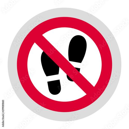 Fotografía  No step here forbidden sign, modern round sticker