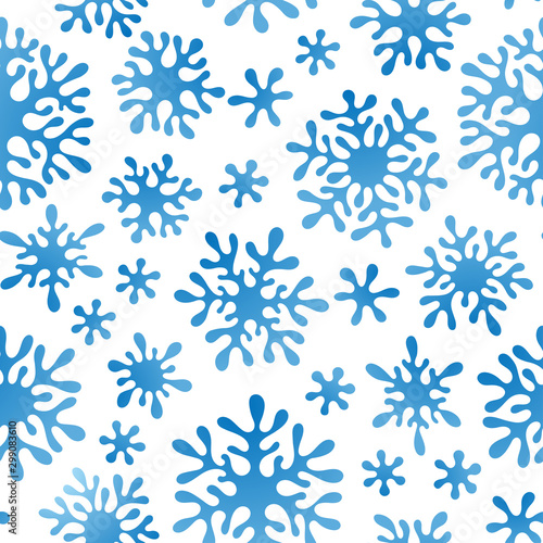 Poster Artificiel Christmas seamless doodle pattern with snowflakes