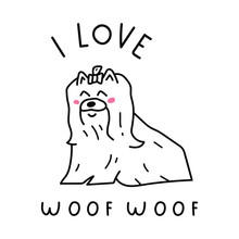I Love Woof Woof. Cute Hand Dr...
