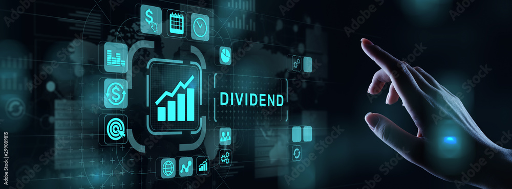 Fototapety, obrazy: Dividends button on virtual screen. Return on Investment ROI financial business wealth concept.