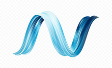 Twisted Blue Flow Liquid Shape. Acrylic Paint Sroke. Modern Design
