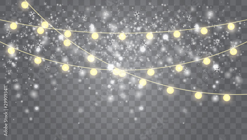 Poster Taupe Falling white snow with glowing garland.
