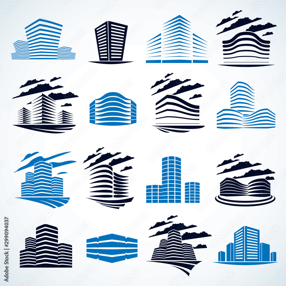 Fototapeta Business buildings set, modern architecture vector illustrations collection. Real estate realty office center designs. 3D futuristic facades in big city. Can be used as a logos or icons.