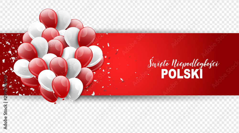 Fototapety, obrazy: Święto Niepodległości Polski 11 listopada (in Polish) - Poland Independence Day 11 November. Holiday celebration banner, poster or flyer. Red and white national flag color balloons