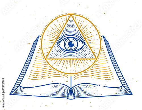 Secret knowledge vintage open book with all seeing eye of god in sacred geometry triangle, insight and enlightenment, masonry or illuminati symbol, vector logo or emblem design element Slika na platnu