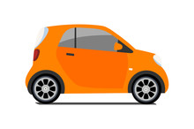 Car Sharing Logo, Vector City Micro Orange Car. Eco Vehicle Cartoon Icon Isolated On White Background. Cartoon Vector Illustration With Urban Ecological Transport. Cute Vector Smart Car Illustration.