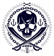 Jolly Roger Dead Head Aggressive Skull, Pirates Vector Emblem Or Logo With Weapons And Other Design Elements, Vintage Style Logo Or Tattoo.