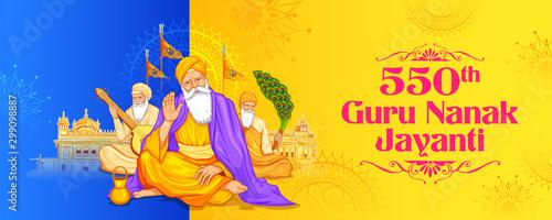 illustration of Happy Gurpurab, Guru Nanak Jayanti festival of Sikh celebration Canvas Print