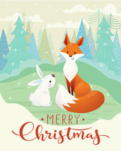 Merry Christmas Card With Fox And Rabbit.
