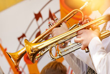 Several Trumpeters Play On The...