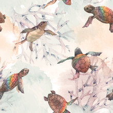 Watercolor Vector Rainbow Small Baby Turtles Colourful Seamless Pattern