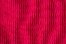Red Wool Sweater Background, Warm Christmas Seamless Knitting Textile, Red Abstract Texture For Background Or Design.
