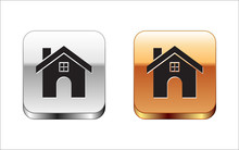 Black House Icon Isolated On White Background. Home Symbol. Silver-gold Square Button. Vector Illustration
