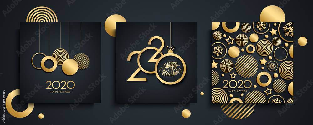 Fototapeta 2020 Happy New Year luxury greeting cards set. New Year holiday invitations templates collection with hand drawn lettering and gold christmas balls. Vector illustration.