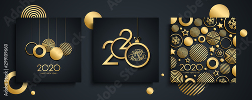 Obraz 2020 Happy New Year luxury greeting cards set. New Year holiday invitations templates collection with hand drawn lettering and gold christmas balls. Vector illustration. - fototapety do salonu
